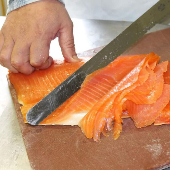 ballyhack smokehouse salmon being sliced 2