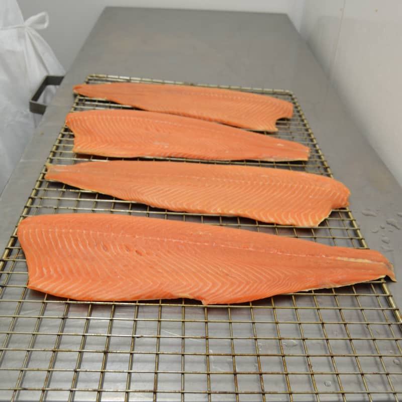 ballyhac smokehouse salmon sides ready for the smoker