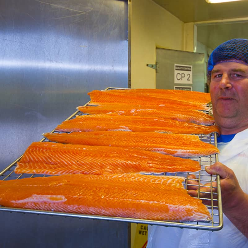 michael walsh woner ballyhack smokehouse brings the salmon to the smoker