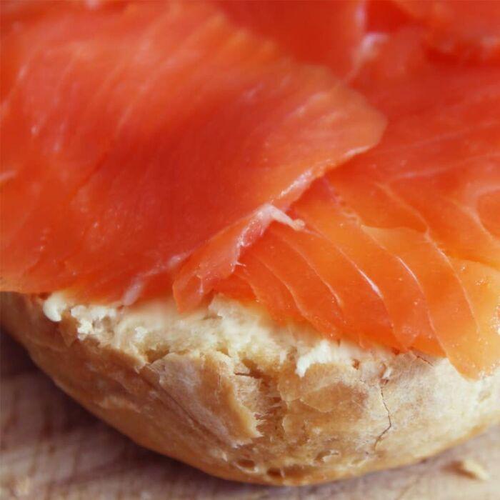 smoked salmon on bread