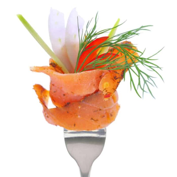 smoked salmon with micro herbs
