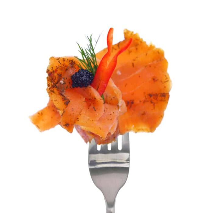 smoked salmon on fork