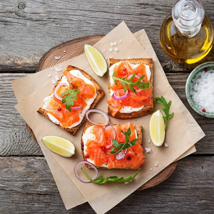 classic Irish smoked salmon on brown bread