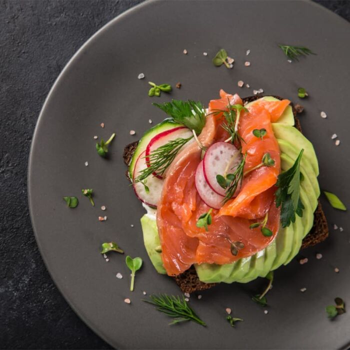 classic smoked salmon on avocado