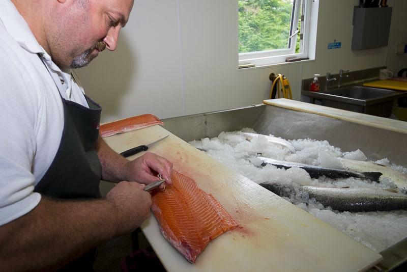 boning the salmon