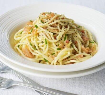 smoked salmon spagetti